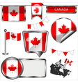 Glossy icons with Canadian flag vector image vector image