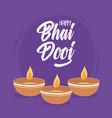 happy bhai dooj diya lamps with light indian vector image vector image