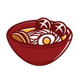japanese soup with noodles in big clay bowl vector image vector image