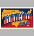 july 4th indiana usa retro travel postcard vector image