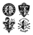knight set medieval thematic emblems vector image