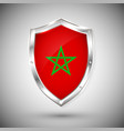 morocco flag on metal shiny shield collection of vector image vector image