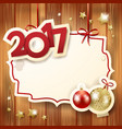 new year background with label baubles and text vector image vector image