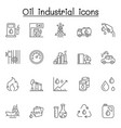 oil industrial icons set in thin line style vector image