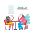 people at cafe cartoon women drink coffee vector image