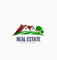 real estate roofs house landscape logo vector image vector image