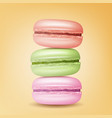 realistic macarons sweet french macaroons vector image