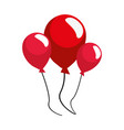 red balloons decoration on white background vector image vector image