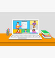 remote learning virtual class kids teleconference vector image