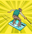 retired old man and bank card going snowboarding vector image