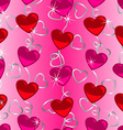 Seamless heart shape pattern with silver ribbon vector image vector image