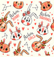 seamless pattern with faces bunny and squirrel vector image vector image