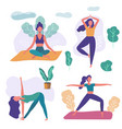 set women practicing yoga girls in different vector image