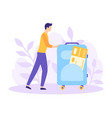 tourism man suitcase ticket flat concept vector image