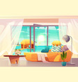 tropical resort hotel room interior cartoon vector image vector image