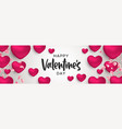 valentines day 3d pink heart shape web banner vector image vector image