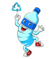 water plastic bottle cartoon mascot character vector image vector image