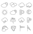 Weather forecast symbols icons set line vector image