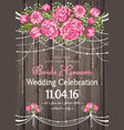 wedding invitation card with floral background vector image vector image