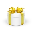 White Round Gift Box with Yellow Ribbon and Bow vector image vector image