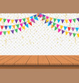 wooden presentation board top with colorful flags vector image vector image