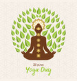 yoga day greeting card woman lotus pose tree vector image