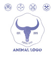 Polygonal hipster logo with head of buffalo in vector image