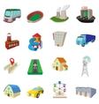 City icons set cartoon style vector image