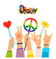 hippie peace signs in hands vector image