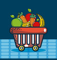 basket with groceries super market products vector image vector image
