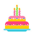 birthday cake color icon vector image