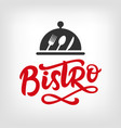 bistro cafe logo badge with calligraphy vector image vector image