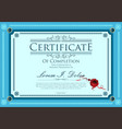 blue certificate retro design template vector image vector image