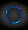 blue glossy circle frame on dark perforated vector image vector image