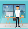 business man working at his office desk flat vector image