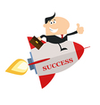 Businessman on a Sky Rocket Cartoon vector image vector image
