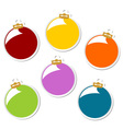 christmas balls stickers vector image vector image