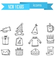 Collection of New Year icons hand draw vector image vector image