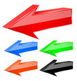 colored arrows 3d previous signs vector image vector image