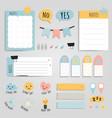 colorful memo pad paper set vector image vector image