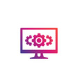 computer and cogwheels icon vector image vector image