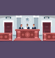 court cartoon courtroom interior with judges vector image