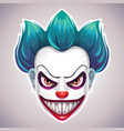 creepy clown mask vector image vector image