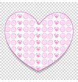 cute big pink paper cut heart sticker with little vector image