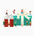 gift boxes and happy tiny people jumping with huge vector image vector image