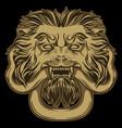 gold lion holding a snake on black door knocker