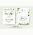 greenery floral wedding invitation thank you cards vector image vector image