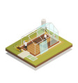 greenhouse facility construction isometric vector image vector image