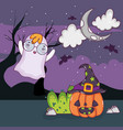 halloween ghost cartoons vector image vector image