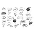 hand drawn comic speech bubbles black thin line vector image